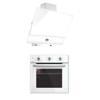 Luxell Kristal Beyaz 2'li Cam Ankastre Set (B66-SF2 MT Beyaz Fırın-DA6-830 Beyaz Davlumbaz)