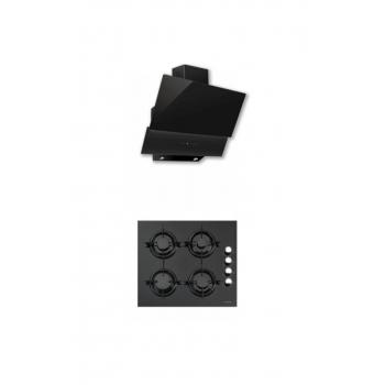 Luxell 2'li Siyah Cam Ankastre Set (DA-835 Siyah Davlumbaz- 40TAHDF Siyah Ocak)